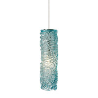 LBL Lighting HS545AQSC1BMRL Isis 1 Light 3 inch Satin Nickel Low-Voltage Mini Pendant Ceiling Light in Aqua (Isis), 50W, Xenon, Monorail
