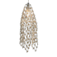 Mademoiselle 1 Light 3 inch Satin Nickel Low-Voltage Pendant Ceiling Light in Golden Shadow Crystal, 7.5W, Monopoint