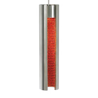 Dolly LED 3 inch Satin Nickel Low-Voltage Pendant Ceiling Light in Satin Nickel Exterior, Orange Crystal Interior, Monorail