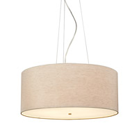Fiona Grande 4 Light 26 inch Satin Nickel Suspension Light Ceiling Light in Linen