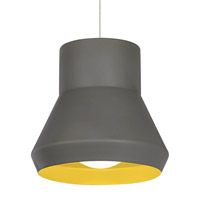 Milo 1 Light 15 inch Gray Suspension Light Ceiling Light in Fluorescent, Chartreuse inside, 277V