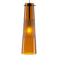 Bonn 1 Light Satin Nickel Low-Voltage Pendant Ceiling Light in Amber (Bonn), 6W, LED Bi-Pin Module, Fusion Jack (no canopy)