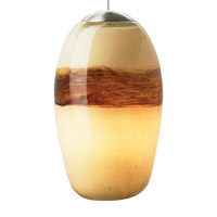 Emi LED 4 inch Satin Nickel Low-Voltage Pendant Ceiling Light in Ivory/Brown, 8W, LED Bi-Pin Module, Fusion Jack (no canopy)