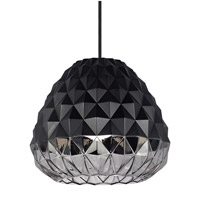 LBL Lighting Facette LED Grande Line-Voltage Pendant in Black with Smoke Glass LP904BLSMLED830