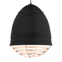 Loft LED 17 inch Line-Voltage Pendant Ceiling Light in Rubberized Black w/ White Interior Shade with Copper Cage