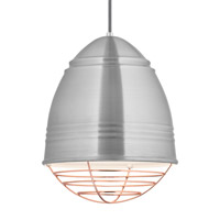Loft LED 12 inch Line-Voltage Pendant Ceiling Light in Brushed Aluminum w/ White Interior Shade with Copper Cage