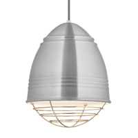 Loft LED 12 inch Line-Voltage Pendant Ceiling Light in Brushed Aluminum w/ White Interior Shade with Polished Nickel Cage