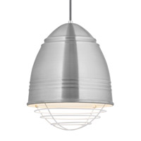 Loft LED 12 inch Line-Voltage Pendant Ceiling Light in Brushed Aluminum w/ White Interior Shade with White Cage