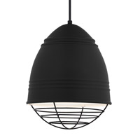 Loft LED 12 inch Line-Voltage Pendant Ceiling Light in Rubberized Black w/ White Interior Shade with Black Cage
