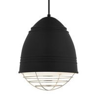 Loft LED 12 inch Line-Voltage Pendant Ceiling Light in Rubberized Black w/ White Interior Shade with Polished Nickel Cage