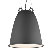 Malka 3 Light 21 inch Rubberized Charcoal Gray Line-Voltage Pendant Ceiling Light in Fluorescent, 120V