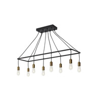 Tae 8 Light 42 inch Black and Aged Brass Linear Suspension Ceiling Light