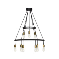 Tae 9 Light 28 inch Black and Aged Brass Chandelier Ceiling Light