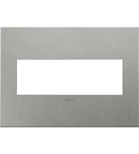 Legrand AWC3GBS4 Adorne Brushed Stainless Steel Wall Plate, 3-Gang photo thumbnail