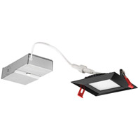 Wafer Ultra Thin Square Integrated LED Board Matte Black Recessed Ceiling Light in Baffle, 4000K, 4-inch