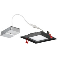 Wafer Ultra Thin Square Integrated LED Board Matte Black Recessed Ceiling Light in Baffle, 4000K, 6-inch