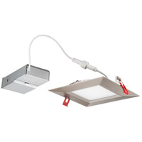 Wafer Ultra Thin Square Integrated LED Board Brushed Nickel Recessed Ceiling Light in Baffle, 2700K, 6-inch