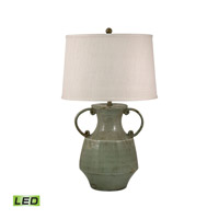 Porcelain 31 inch 9.5 watt Celadon Table Lamp Portable Light in LED