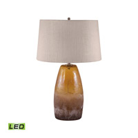 Glass 28 inch 9.5 watt Amber Crackle Table Lamp Portable Light in LED