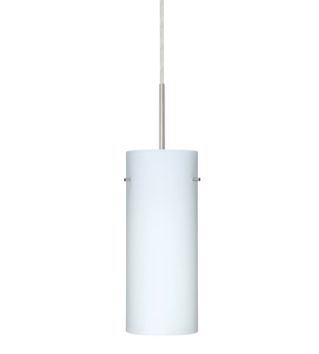 Besa Lighting Stilo 1 Light Satin Nickel Pendant Ceiling Light in Opal Matte Glass, Halogen 1JT-412307-SN - Open Box photo thumbnail