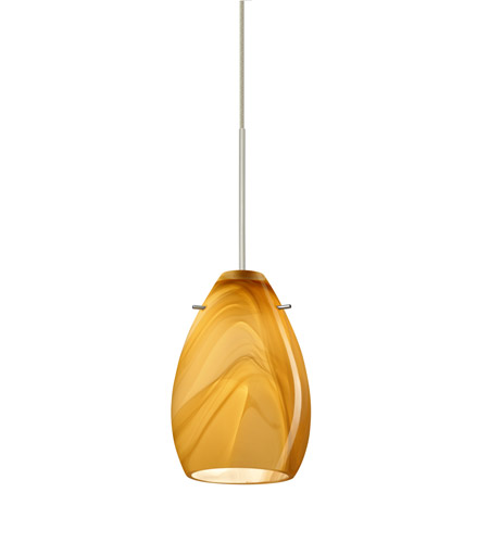 Besa Lighting Pera LED Satin Nickel Pendant Ceiling Light in Honey Glass 1XT-1713HN-LED-SN - Open Box photo thumbnail