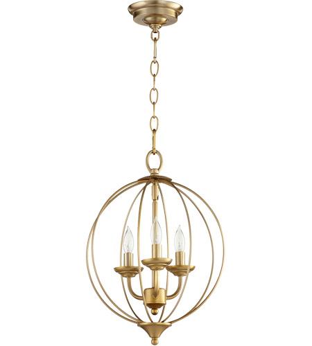 Quorum Flora 3 Light 13 Inch Aged Brass Chandelier Ceiling Light 623 3 80 Open Box