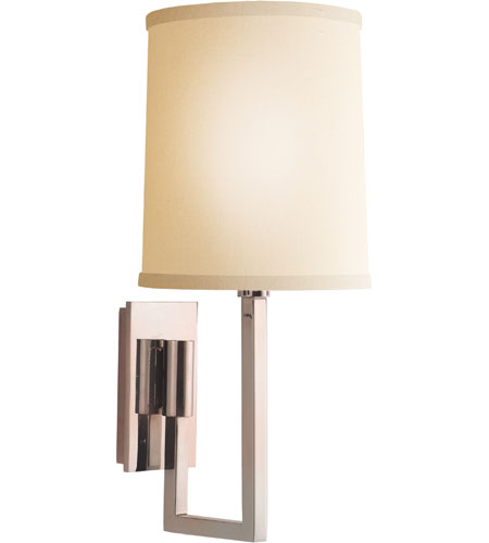 Visual Comfort Barbara Barry Aspect Library Sconce in Soft Silver with Ivory Linen Shade BBL2027SS-L - Open Box  photo