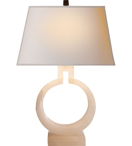 Visual Comfort Chart House Small Ring Table Lamp in Alabaster with Natural Paper Shade CHA8969ALB-NP - Open Box photo