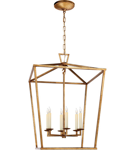 Visual Comfort E. F. Chapman Darlana 6 Light 24 inch Gilded Iron Foyer Lantern Ceiling Light, E.F. Chapman, Large CHC2176GI - Open Box  photo