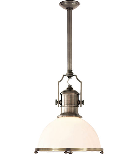 Visual Comfort E. F. Chapman Country Industrial 1 Light 20 inch Antique Nickel Pendant Ceiling Light in White Glass CHC5136AN-WG - Open Box photo