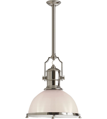 Visual Comfort E. F. Chapman Country Industrial 1 Light 20 inch Polished Nickel Pendant Ceiling Light in White Glass CHC5136PN-WG - Open Box  photo