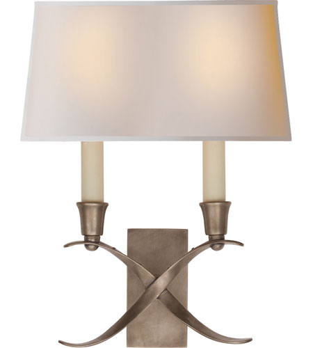 Visual Comfort E.F. Chapman Cross Bouillotte 2 Light Decorative Wall Light in Antique Nickel CHD1190AN-NP - Open Box  photo