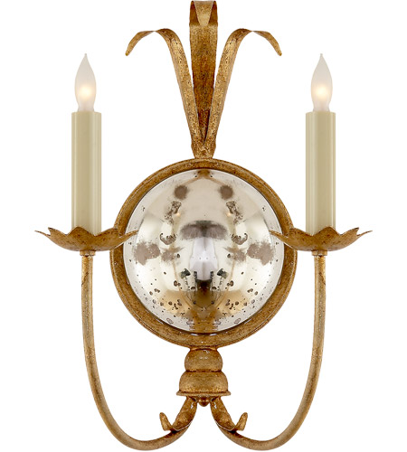 Visual Comfort E.F. Chapman Gramercy 2 Light Decorative Wall Light in Gilded Iron CHD4175GI - Open Box  photo