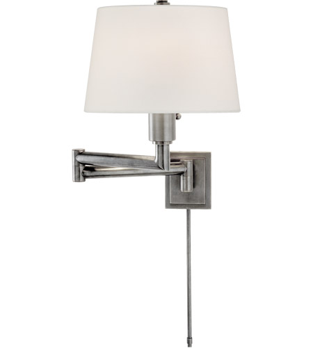 Visual Comfort E. F. Chapman Chunky 26 inch 100 watt Antique Nickel Swing-Arm Wall Light in Linen CHD5106AN-L - Open Box photo