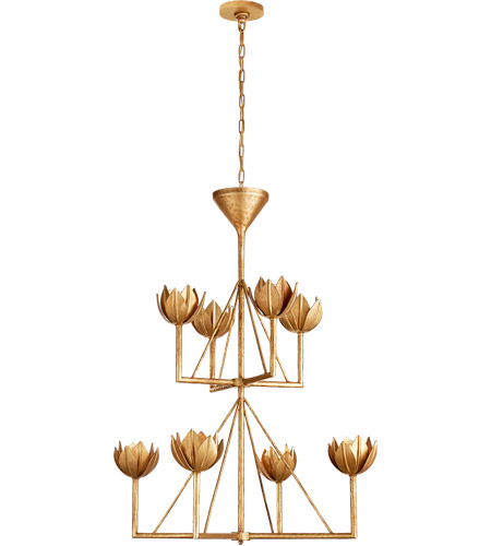 Visual Comfort Julie Neill Alberto 8 Light 34 inch Antique Gold Leaf Chandelier Ceiling Light, Medium JN5005AGL - Open Box photo