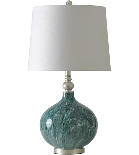 StyleCraft Home Collection Signature 29 inch 150 watt Blue Marble Table Lamp Portable Light L311680DS - Open Box photo thumbnail