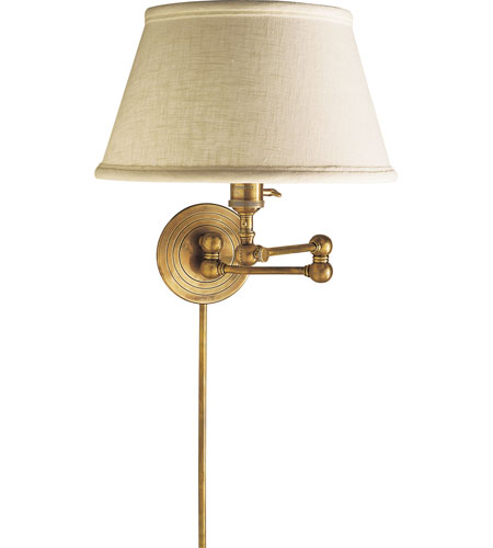 Visual Comfort Studio Sandy Chapman Boston Swing Arm In Hand Rubbed Antique Br With Linen Shade Sl2920hab L Open Box