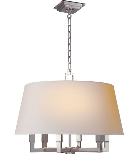 Visual Comfort E. F. Chapman Square Tube 6 Light 24 inch Polished Nickel Hanging Shade Ceiling Light SL5820PN-NP - Open Box  photo