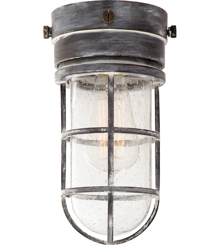 Visual Comfort E F Chapman Marine 1 Light 6 Inch Weathered Zinc Outdoor Flush Mount In Seeded Gl Slo4000wz Sg Open Box