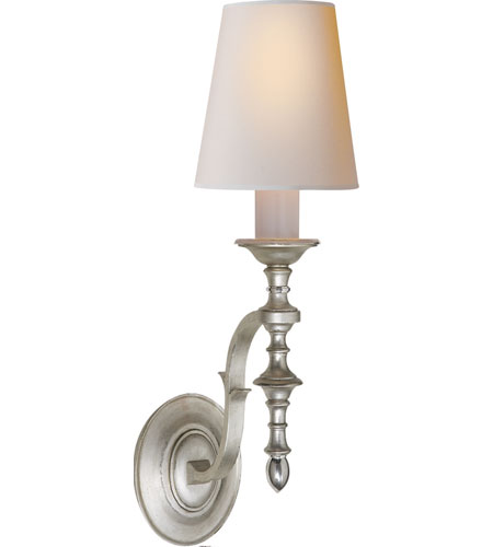 Visual Comfort Thomas OBrien Chandler Single Sconce in Burnished Silver Leaf with Natural Paper Shade TOB2110BSL-NP - Open Box photo