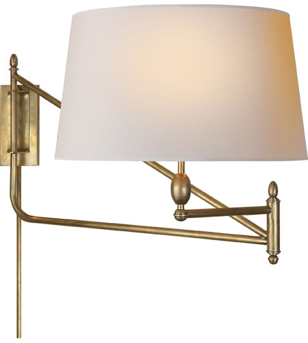 Visual Comfort Thomas Obrien Paulo 1 Light Swing Arm Wall In Hand Rubbed Antique Br Tob2201hab Np Open Box