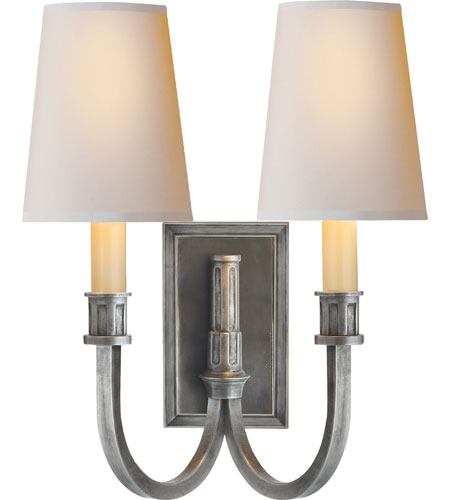 Visual Comfort Thomas OBrien Modern Library 2 Light 12 inch Sheffield Nickel Decorative Wall Light TOB2328SN-NP - Open Box photo