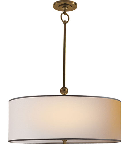 Visual Comfort Thomas OBrien Reed 2 Light 22 inch Hand-Rubbed Antique Brass Hanging Shade Ceiling Light in Natural Paper with Black Tape TOB5011HAB-NP/BT - Open Box  photo