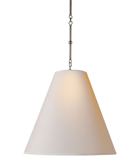 Visual Comfort Thomas OBrien Goodman Hanging Lamp in Antique Nickel with Natural Paper Shade TOB5014AN-NP - Open Box  photo