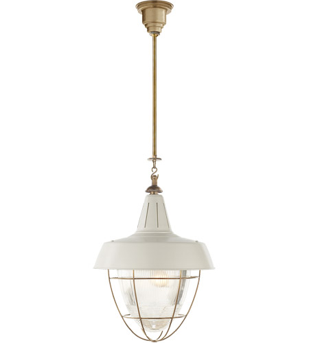 Visual Comfort Thomas OBrien Henry 2 Light 18 inch Hand-Rubbed Antique Brass Pendant Ceiling Light in White Tole TOB5042HAB-WHT - Open Box photo