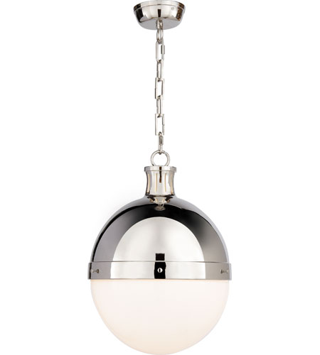 Visual Comfort Thomas OBrien Large Hicks Pendant in Polished Nickel with White Glass TOB5063PN-WG - Open Box  photo