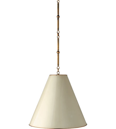 Visual Comfort Thomas Obrien Goodman 1 Light 18 Inch Hand Rubbed Antique Br Pendant Ceiling White Tob5091hab Aw Open Box