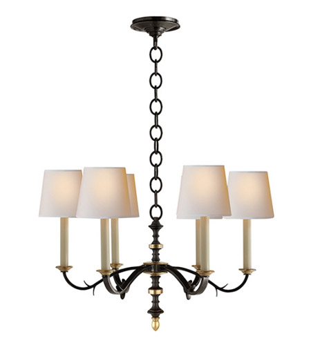 Visual Comfort Thomas Obrien Channing 6 Light 28 Inch Blackened Rust With Antique Br Chandelier Ceiling
