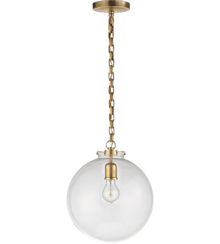 Visual Comfort Thomas OBrien Katie 1 Light 12 inch Hand-Rubbed Antique Brass Pendant Ceiling Light in Clear Glass TOB5226HAB/G4-CG - Open Box  photo