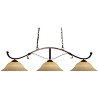 Z-Lite Howler 3 Light 48 inch Bronze Island Light Ceiling Light in Golden Mottle 148BRZ-GM16 - Open Box